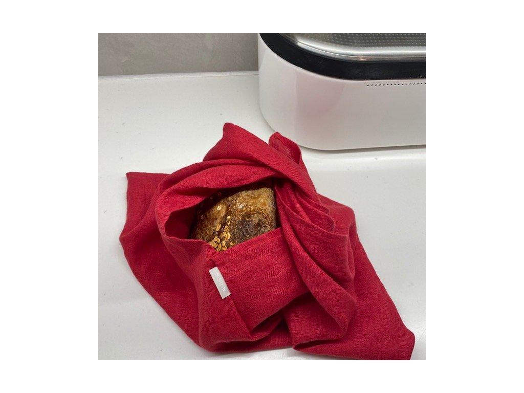 Lněný vak na pečivo zavazovací -100% len, gramáž 185 g/m2 - Red