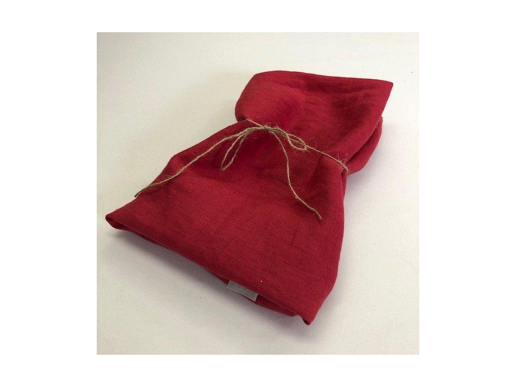 Lněný ubrus - 100% len Red - vánoční
