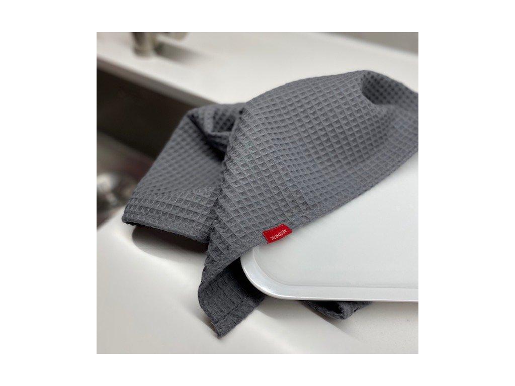 Bavlněná utěrka - 100% bavlna vafle - Graphite Grey