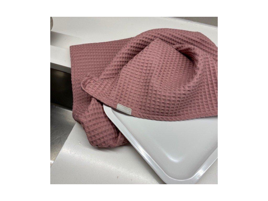 Bavlněná utěrka - 100% bavlna vafle - šeříková