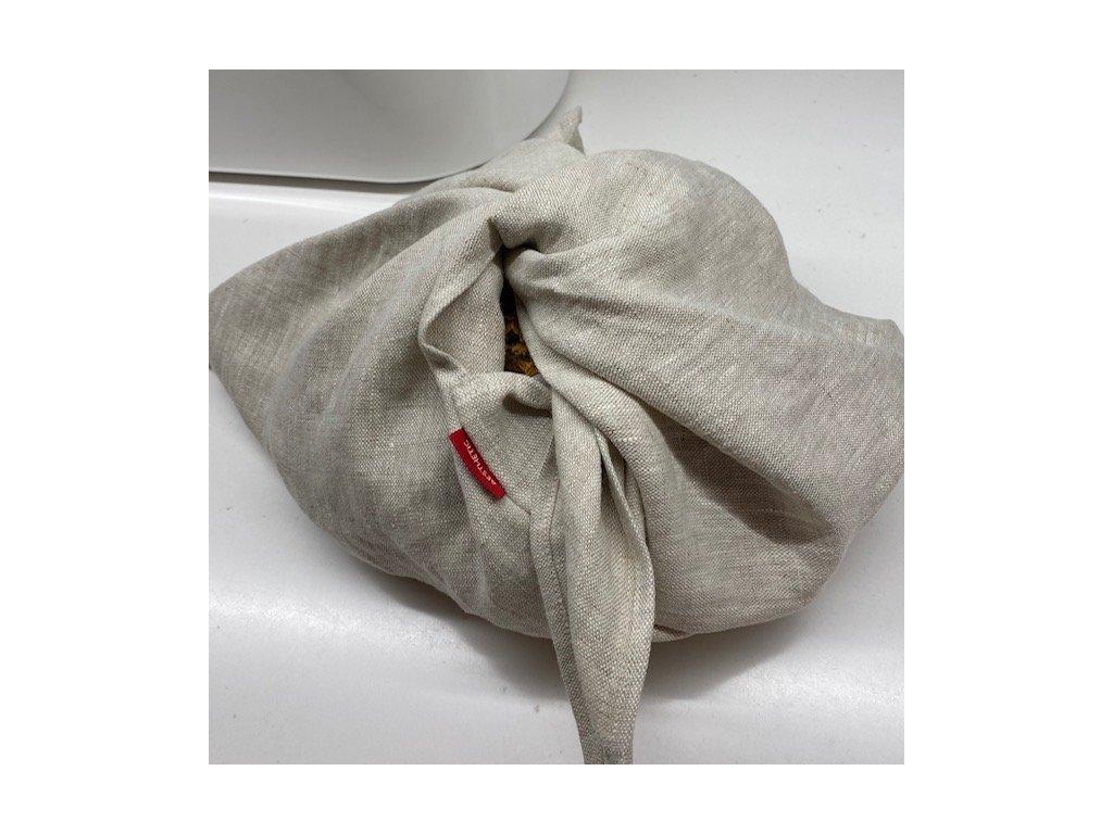 Lněný vak na pečivo zavazovací -100% len, gramáž 245g/m2 - Přírodní světlá