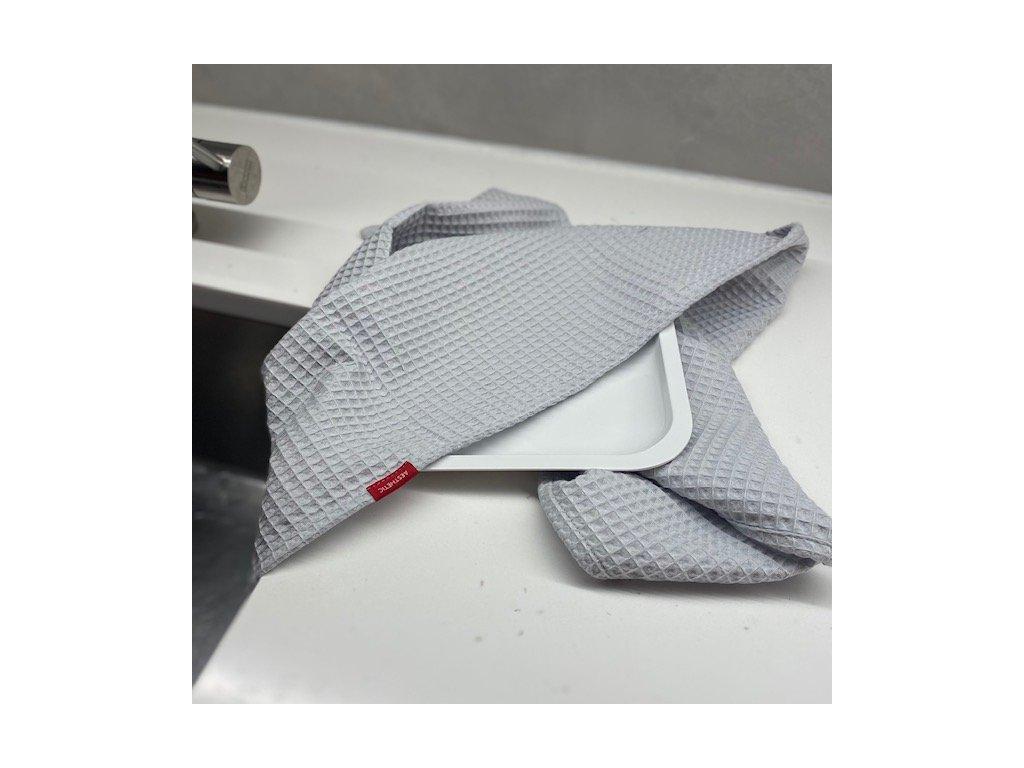 Bavlněná utěrka - 100% bavlna vafle - šedá světlá