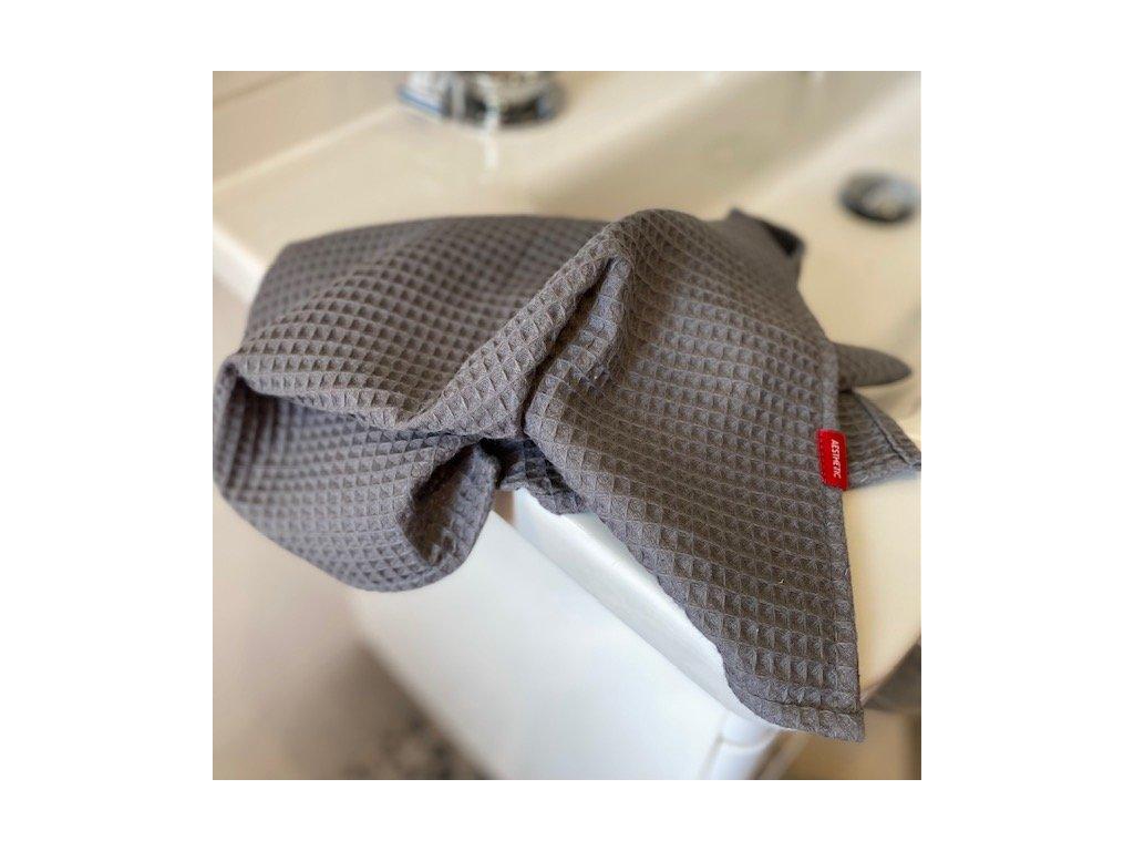 Bavlněný ručník/osuška s vaflovým vzorem - šedá titanová