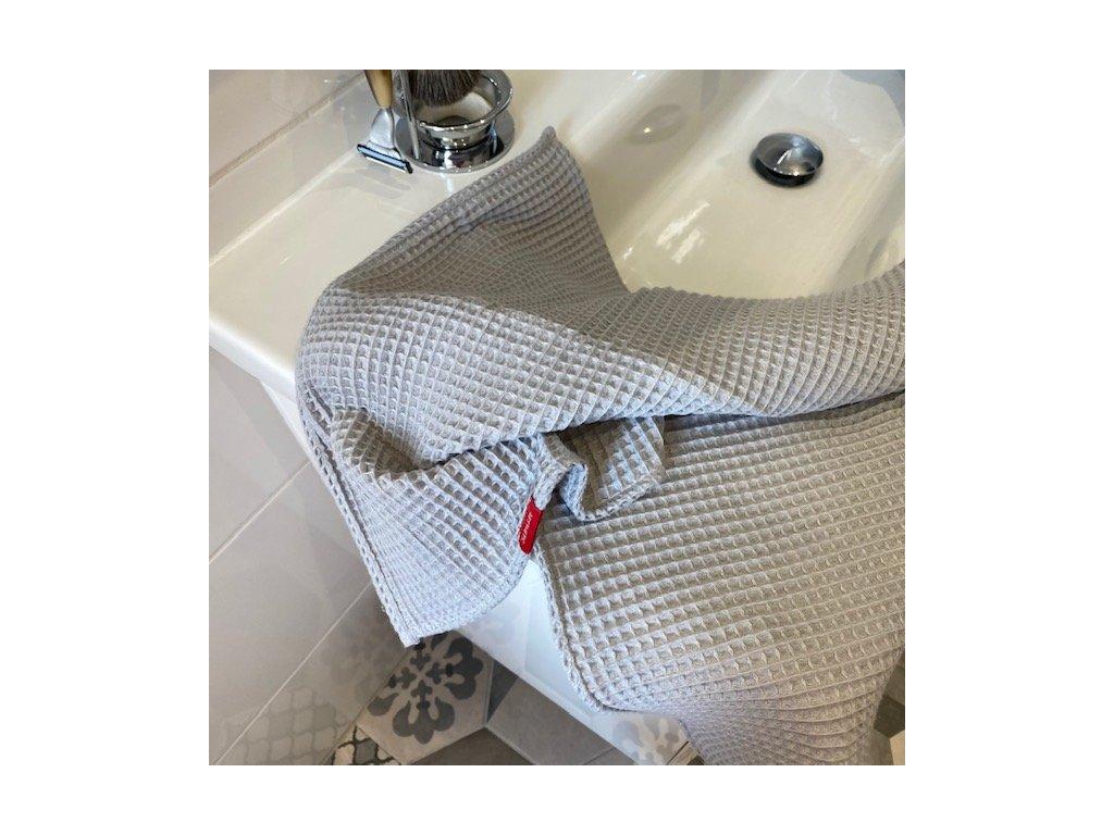 Bavlněný ručník/osuška s vaflovým vzorem - šedá střední
