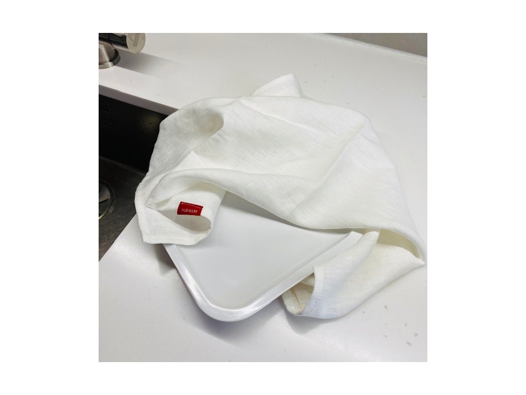 Lněná utěrka - 100% len, gramáž 245g/m2 - White Milk