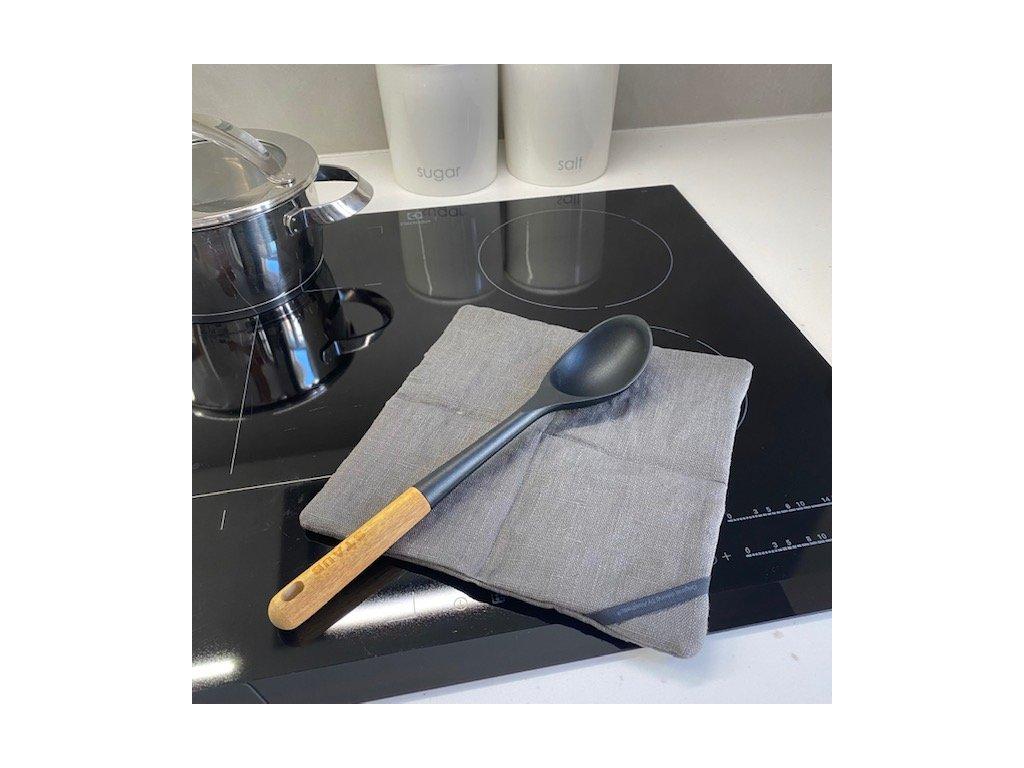 Lněná chňapka na vaření s úchytkou - 100% len, gramáž 280g/m2 - Šedá titanová