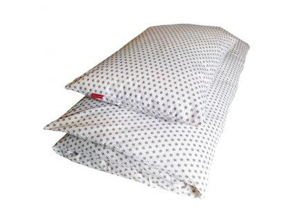 Povlečení bavlněné plátno - STAR šedá na bílé