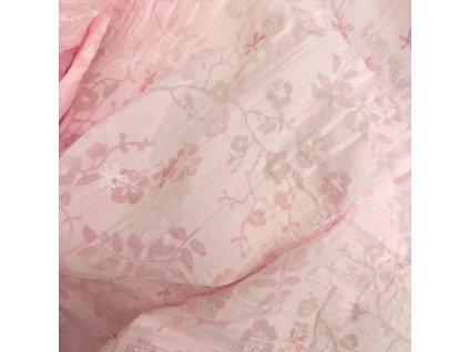 Bavlněný kreš s výšivkou - růžová s růžovou výšivkou