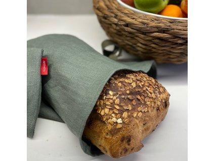 Lněný vak na chleba / sáček na pečivo s koženým poutkem -100% len, gramáž 245g/m2 - Khaki