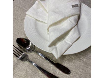 Lněný jídelní ubrousek - 100% len White Milk