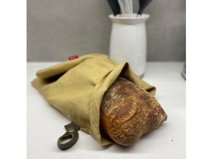 Lněný vak na chleba / sáček na pečivo s koženým poutkem -100% len, gramáž 245g/m2 - Písková
