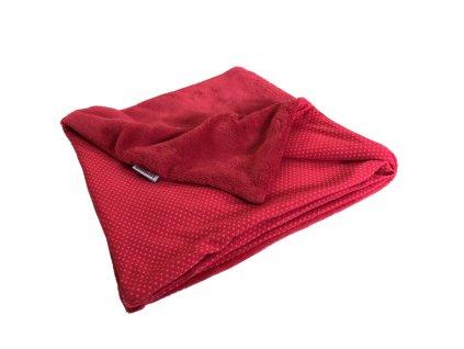 Bonding deka novorozenecká - bavlna/mikroplyš červená