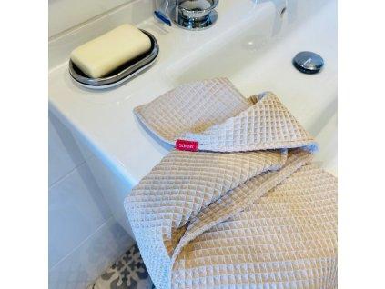 Bavlněný ručník/osuška s vaflovým vzorem - Béžová