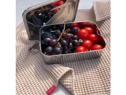 Nerezová dóza na potraviny, lunchbox s těsněním - 1100 ml, 5.3 x 21.5 x 14.5cm - větší nízká dóza