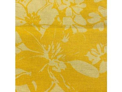 100% LEN žluté květy 84x132cm