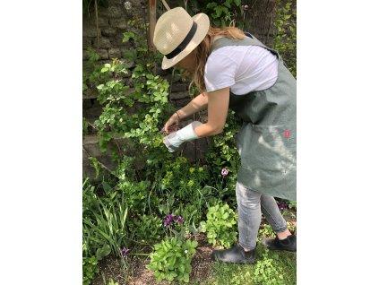 Zástěra lněná šatová s kapsami - zahradní - Olive Green
