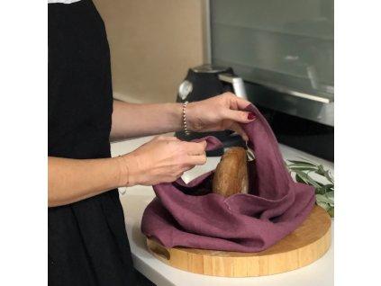 Lněný vak na pečivo zavazovací - šeříková