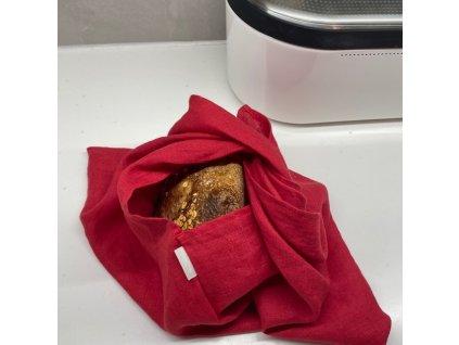 Lněný vak na pečivo zavazovací - červená