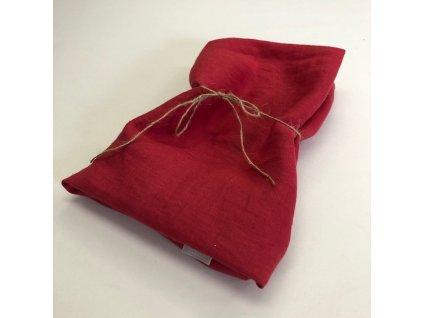 Lněný ubrus - 100% len červená vánoční