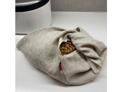 Lněný vak na pečivo zavazovací -100% len, gramáž 245g/m2 - Oatmeal