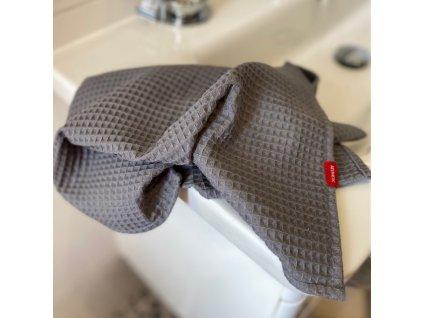 Bavlněný ručník/osuška s vaflovým vzorem - Graphite Grey