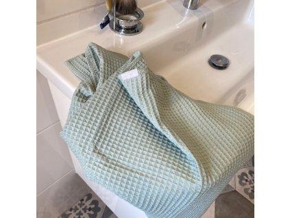 Bavlněný ručník/osuška s vaflovým vzorem - Mentolová