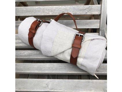 Exkluzivní pikniková deka lněná STONE - Ice Grey /len Oatmeal 140x200 cm