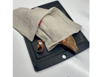 Lněný vak na chleba / sáček na pečivo s koženým poutkem -100% len, gramáž 245g/m2 - Přírodní tmavý
