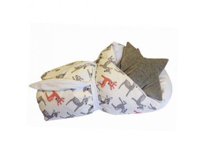 Rychlo-zavinovačka péřová - 100% bavlněné plátno - Bambi bílá/ bílá 75x75cm