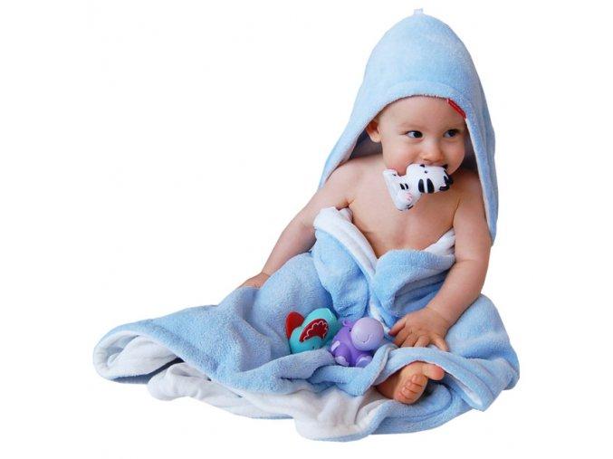 Osuška dětská s kapucí - modrá nebeská - bílá - bambusové vlákno - 95x95 cm