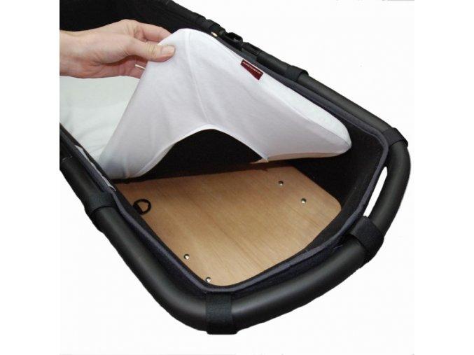 Prostěradlo do kočárku, košíku (matracový chránič) - froté s ochranou proti pročůrání  - bílá  32x75 cm
