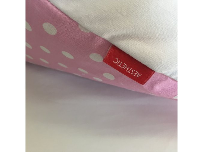 Náhradní povlak na péřovou zavinovačku puntík bílý na růžové 75x75 cm