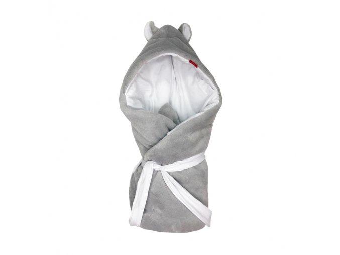 Rychlozavinovačka s kapucí novorozenecká Mikroplyš smetanová - bavlna  bílá 72x72cm