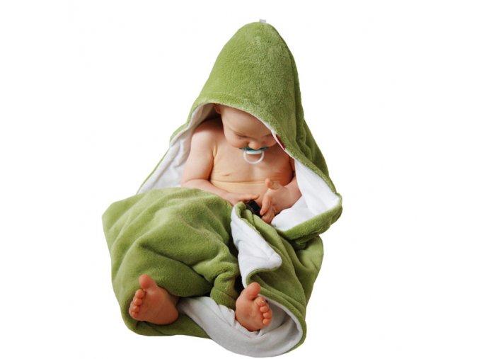 Osuška dětská s kapucí - limetková - bílá - bambusové vlákno - 95x95 cm