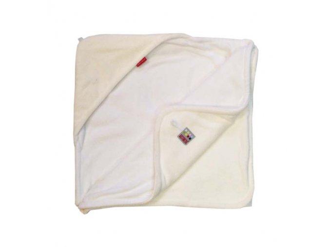 Osuška dětská s kapucí - smetanová - bílá - bambusové vlákno - 95x95 cm