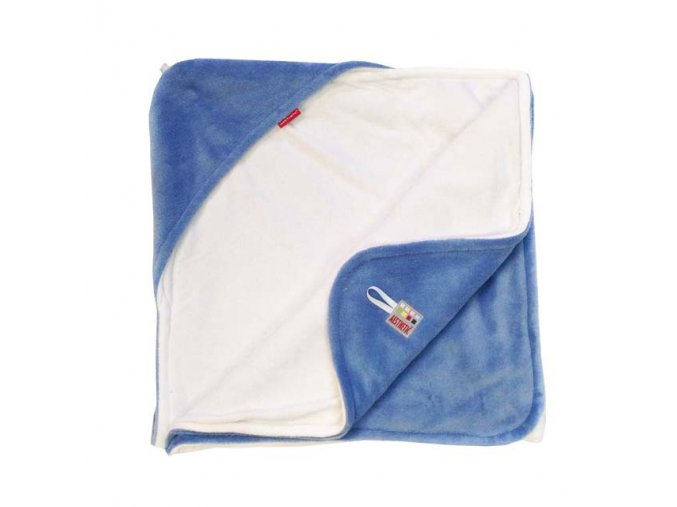 Osuška dětská  s kapucí - modrá mořská - bílá - bambusové vlákno - 95x95 cm