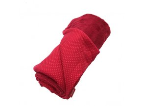 Deka dětská/dospělá celoroční oboustranná - puntíček červená bavlna / červená mikroplyš