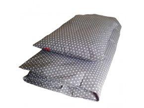 Povlečení - STAR bílá na šedé - EU 100x135/40x60 cm, 135x200/70x90 cm