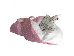 Rychlo-zavinovačka péřová -  100% bavlněné plátno - Puntík na růžové / bílá 75x75cm