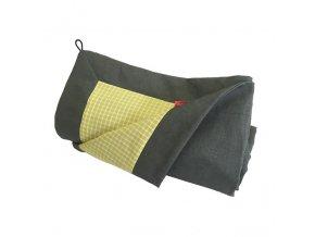 aesthetic deka na piknik letni len khaki kostka limetková 640