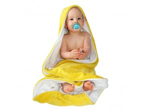 Osuška dětská s kapucí - žlutá curry - bílá - bambusové vlákno - 95x95 cm