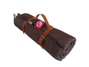 Pikniková deka s popruhy z kůže - hnědá 140x200cm