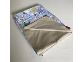 AKCE - Deka dětská letní oboustranná bavlněná - modro/limetkové ornamenty plátno / béžový bavlněný úplet  72x100cm