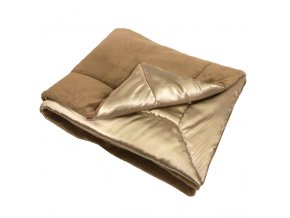 Luxusní prošívaná deka / přehoz - satén/mikroplyš - hnědá medová - 135x200 cm