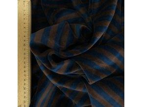 Bavlněný velur - proužek modro / hnědý