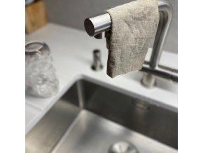 Lněný hadřík na nádobí s ouškem - 100% len khaki, přírodní