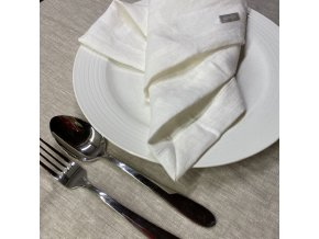 Lněný jídelní ubrousek - 100% len bílá
