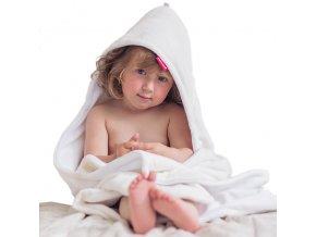 Osuška dětská s kapucí - bílá - bílá - bambusové vlákno - 95x95 cm