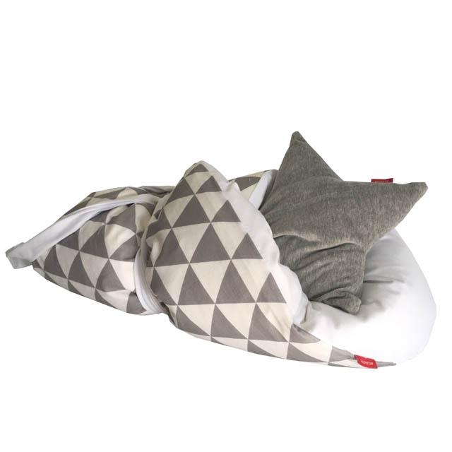 Rychlo-zavinovačka péřová - 100% bavlněné plátno - Triangel šedá / bílá 75x75cm