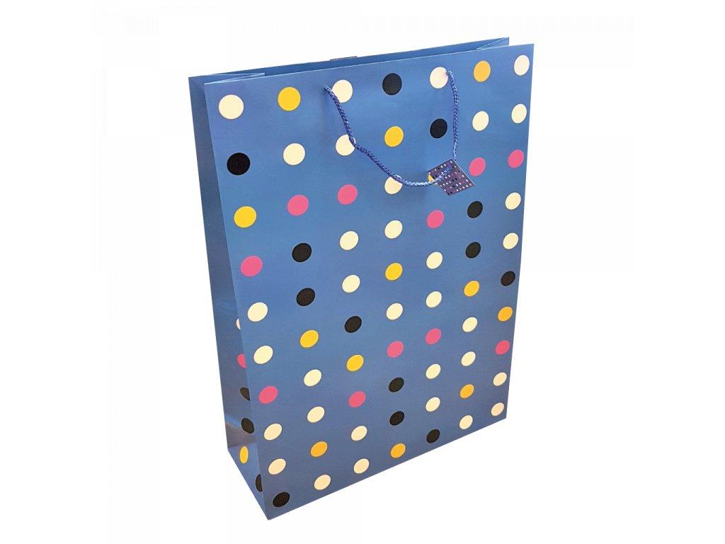 Dárková taška jumbo XXL modrá s puntíkem